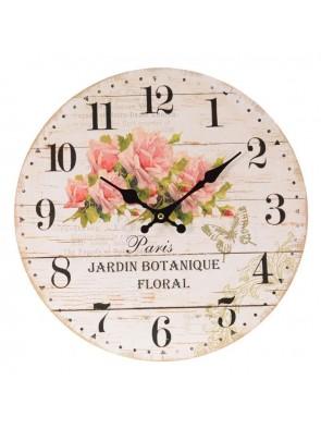 Ρολόι Τοίχου Ξύλινο Με Τριαντάφυλλα INART  3-20-773-0076
