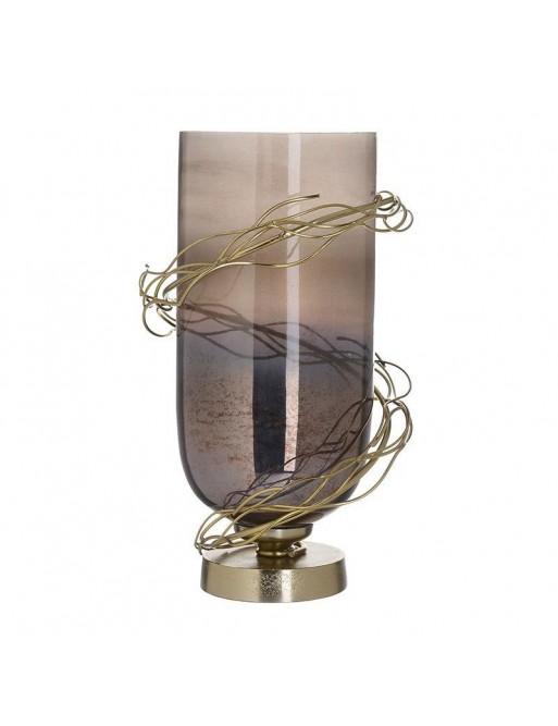 Βάζο Γυάλινο Με Μεταλλική Βάση 35εκ INART  3-70-162-0156