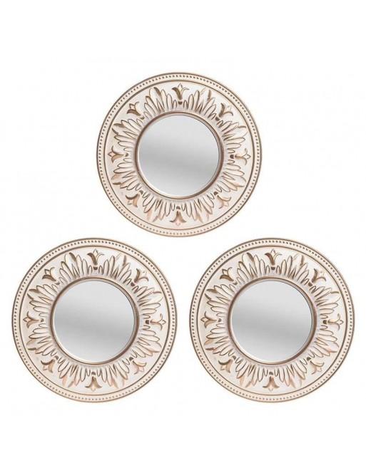 Καθρέπτης Τοίχου Σετ 3 Τεμαχίων Λευκό/Χρυσό INART 3-95-956-0012