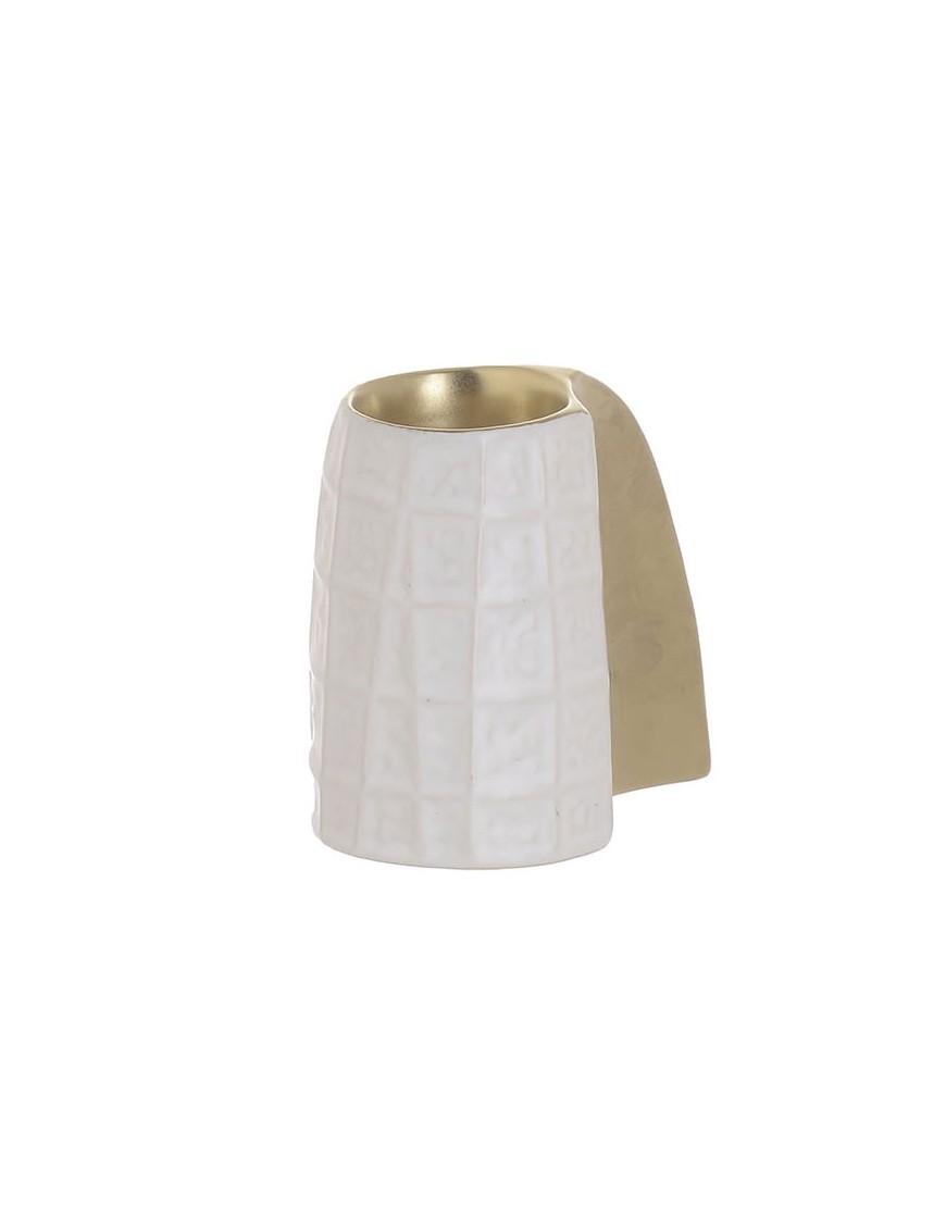 Κηροπήγιο Κεραμικό Λευκό/Χρυσό InArt 3-70-681-0112