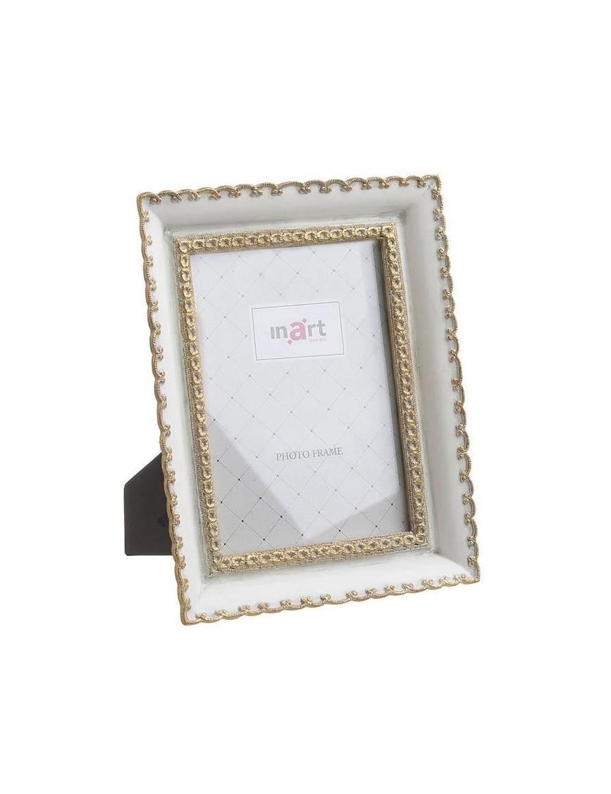 Κορνίζα Polyresin Λευκή/Χρυσή 10Χ15 Inart 3-30-383-0164