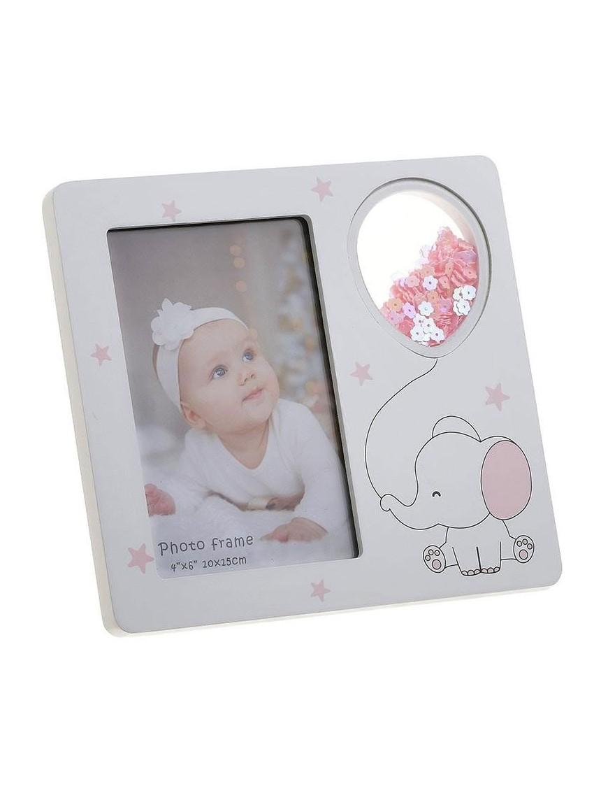 Κορνίζα Παιδική Ξύλινη Λευκή/ Ροζ 10x15 Inart 3-30-817-0074