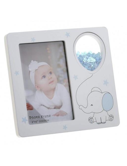 Κορνίζα Παιδική Ξύλινη Λευκή/ Γαλάζια 10x15 Inart 3-30-817-0075