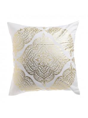 Μαξιλάρι Υφασμάτινο Λευκό/ Χρυσό 45x45 Inart 3-40-820-0024