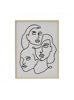 """Πίνακας Printed Ασπρόμαυρος """"Φιγούρες"""" 30x40 3-90-524-0024"""